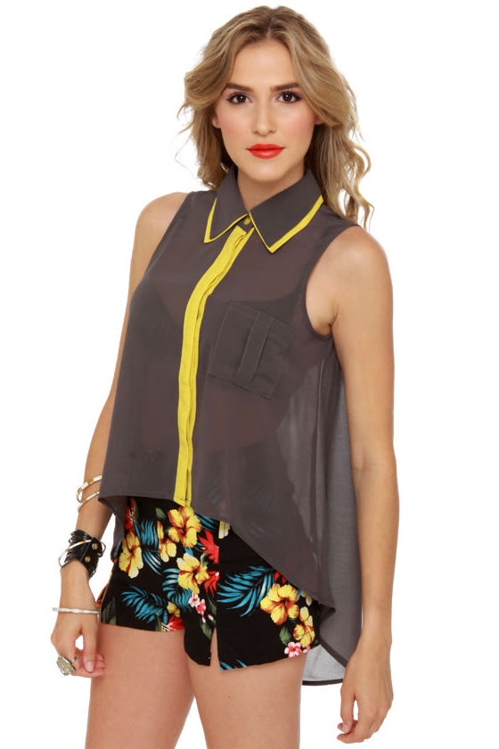 Dubbed Version Grey Button-Up Top at Lulus.com!