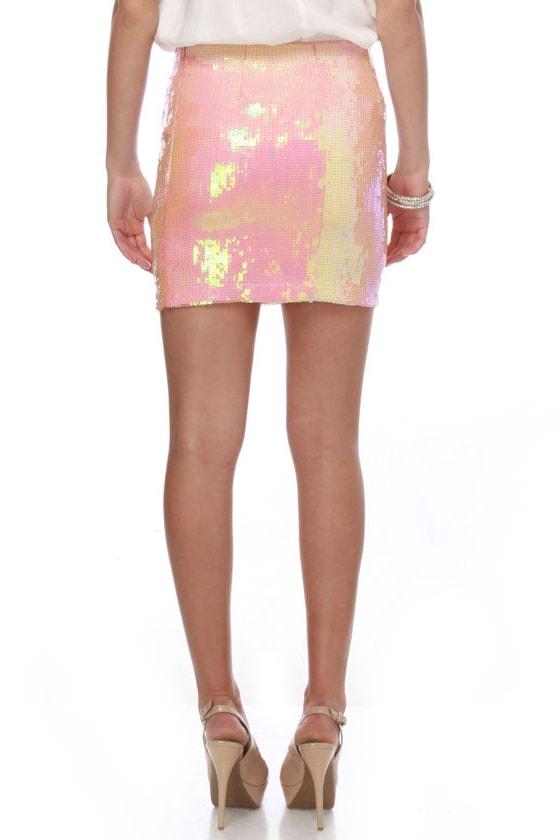 Beautiful Pink Skirt - Sequin Skirt - Mini Skirt - $61.00
