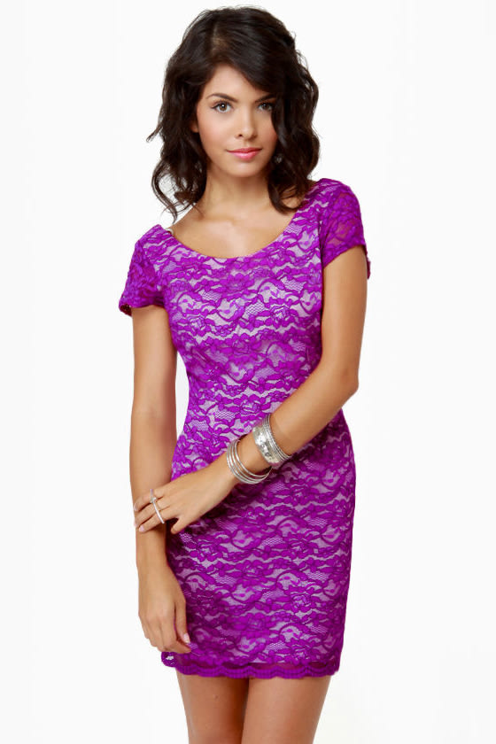 Closing Credits Purple Lace Dress
