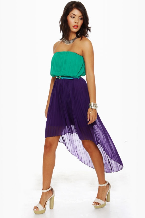 Cocktail Hour Strapless Teal and Purple Dress