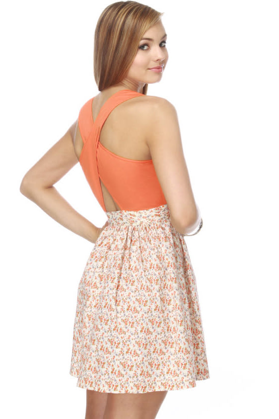 Tulle Apricot Preserves Floral Dress
