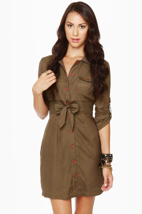 Tulle Day Camp Olive Green Shirt Dress