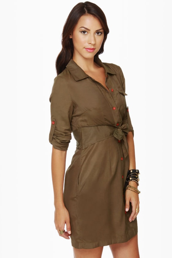 Tulle Day Camp Olive Green Shirt Dress at Lulus.com!