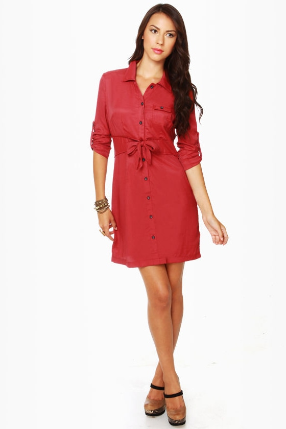 Tulle Day Camp Red Shirt Dress at Lulus.com!