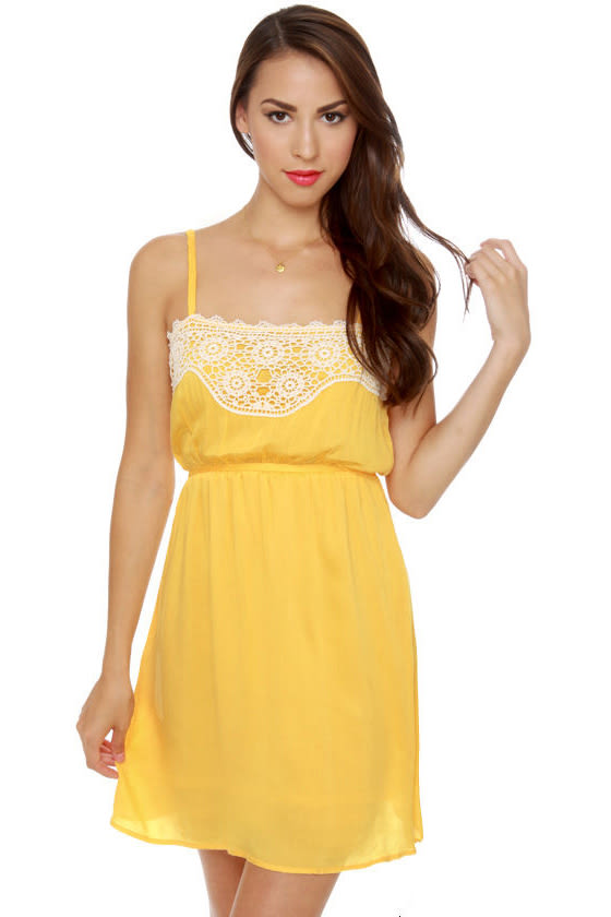 Tulle Tally Me Banana Yellow Dress at Lulus.com!