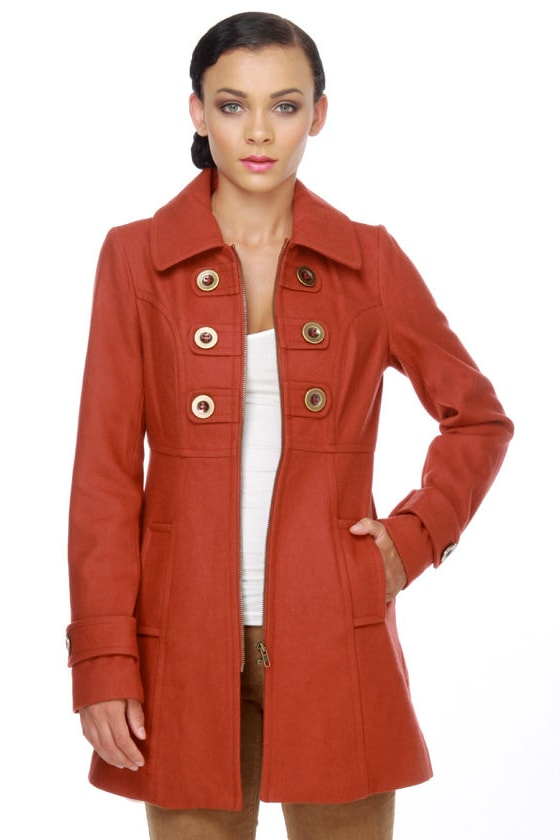 Tulle Rust Red Pea Coat - Burnt Orange Pea Coat - $89.00