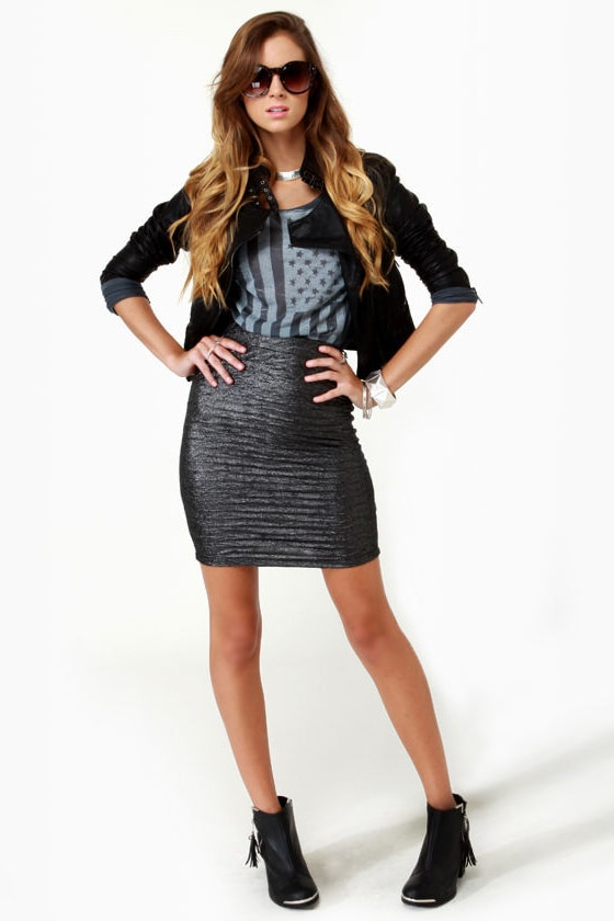 Motel Sabrina Crushed Pewter Pencil Skirt at Lulus.com!