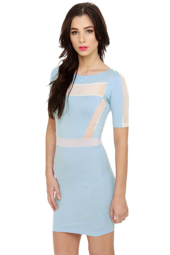 Motel Carina Beige and Light Blue Dress at Lulus.com!
