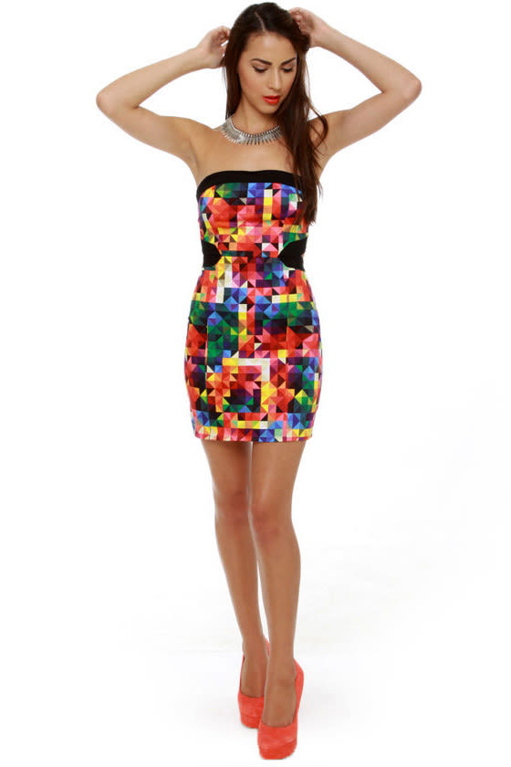 Motel Zahara Strapless Kaleidoscope Print Dress
