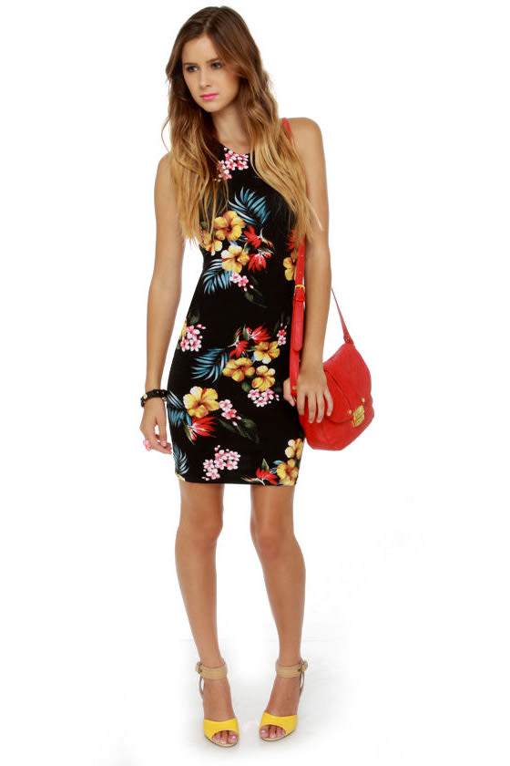 Motel Rowena Black Floral Print Dress