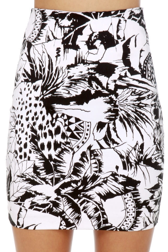 Motel Becka Black and White Tropical Print Skirt