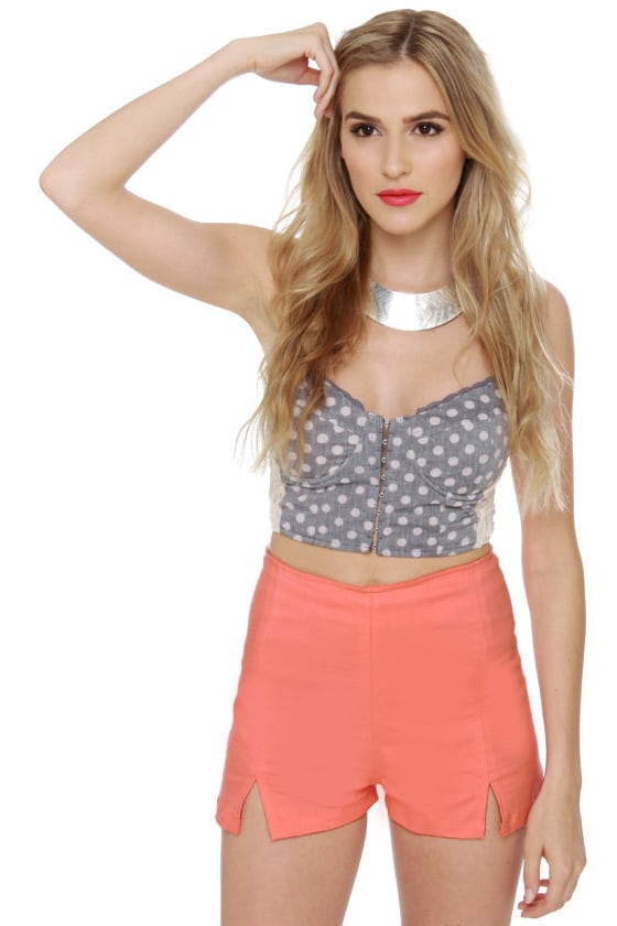 Motel Dixie Salmon Pink High-Waisted Shorts