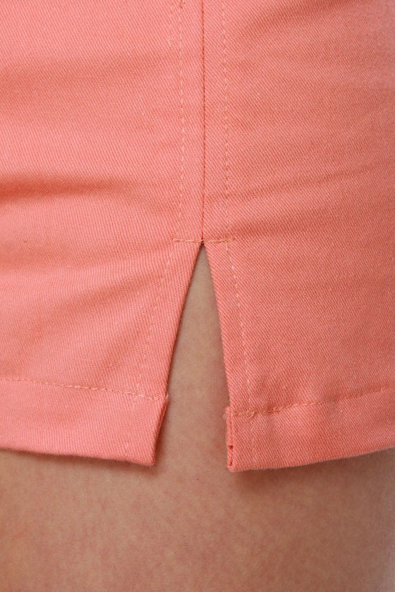 Motel Dixie Salmon Pink High-Waisted Shorts at Lulus.com!
