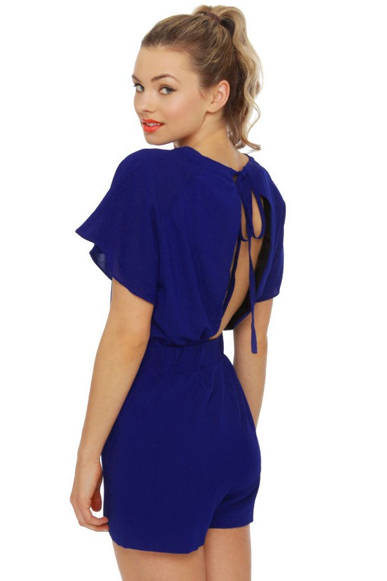 Saturday Bright Fever Royal Blue Romper at Lulus.com!