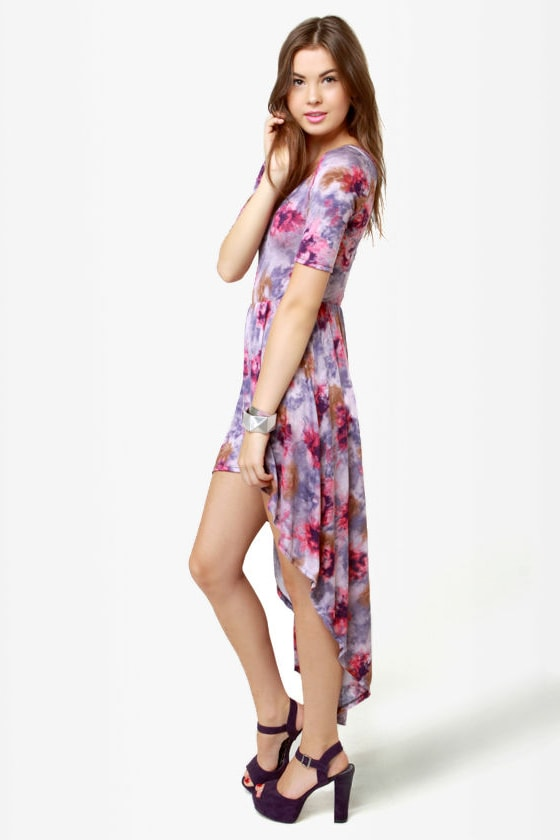 933c3d0c9bd Lovely Purple Dress - Tie-Dye Dress - Floral Print Dress -  35.00