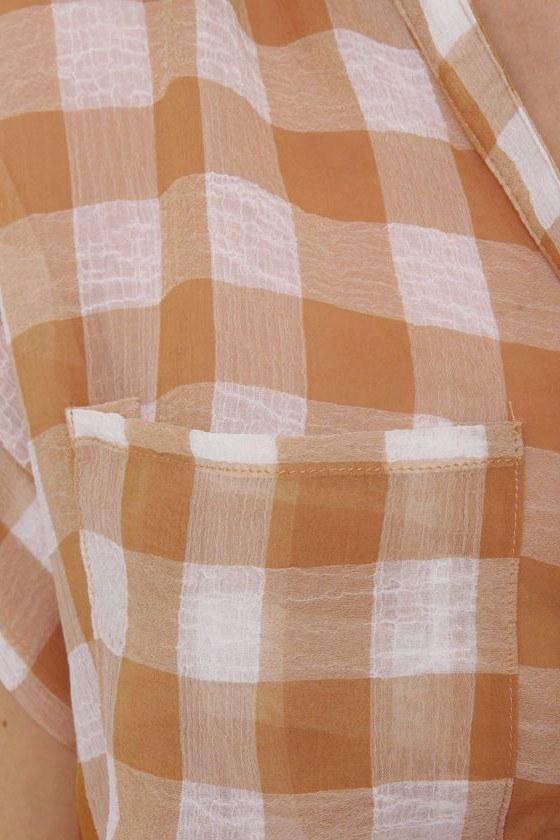 Checkered Blast Brown Plaid Top