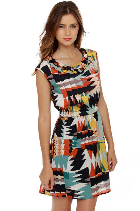 Geo-Patra Print Dress