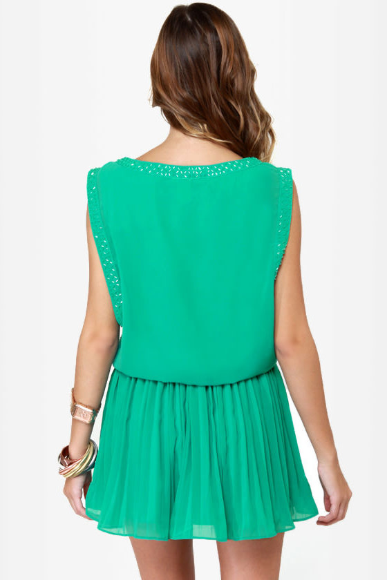 Sparks and Recreation Beaded Teal Dress at Lulus.com!