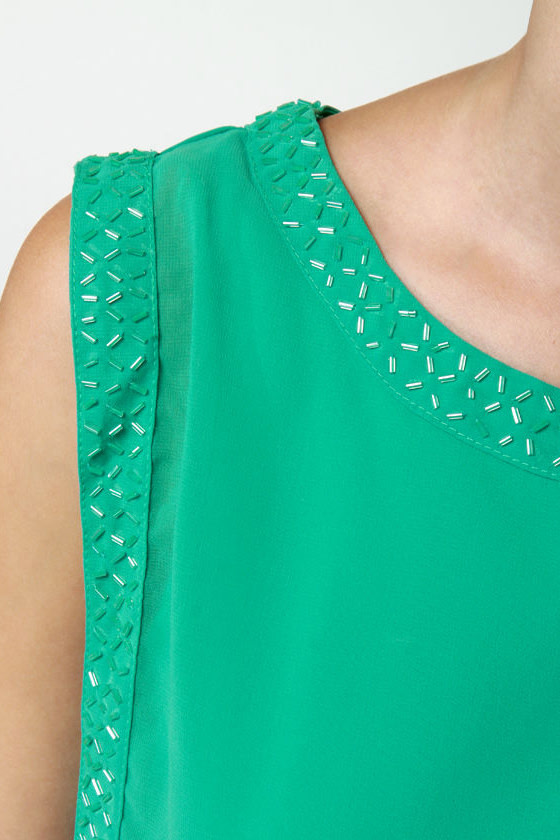 Sparks and Recreation Beaded Teal Dress