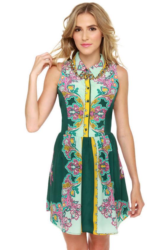 Cute Paisley Print Dress - Green Dress - Sleeveless Dress - $54.00