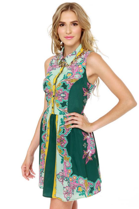 Summer of Love Green Paisley Print Dress