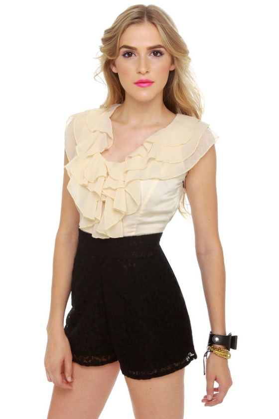 Romp le Monde Ivory and Black Lace Romper at Lulus.com!