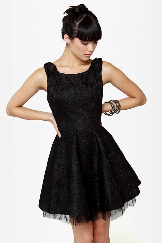 Fine and Dandy Black Lace Dress at Lulus.com!