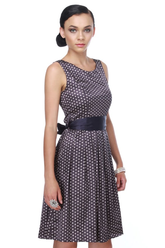 String of Pearls Navy Blue Polka Dot Dress