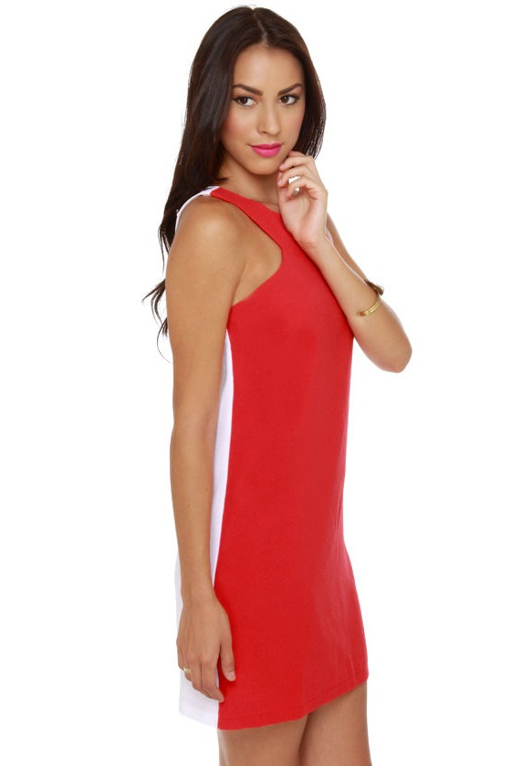 Sixties Fix White and Red Shift Dress