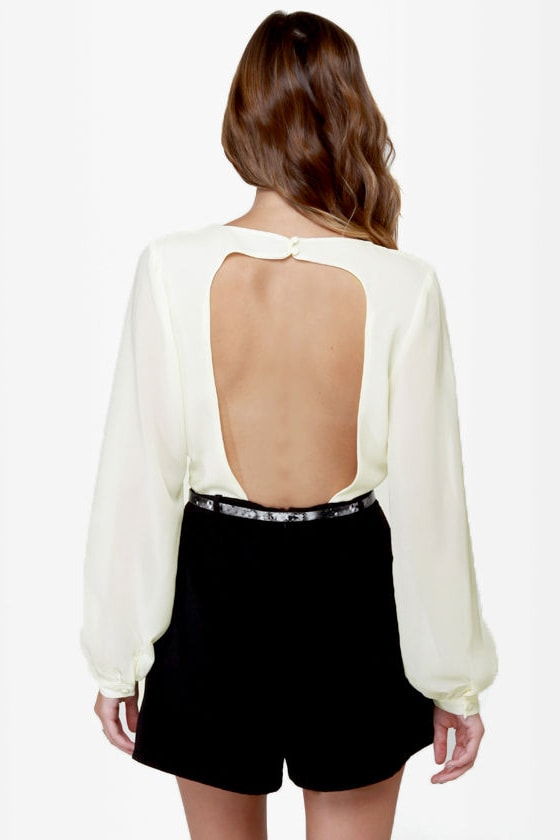 Top Shelf Backless Cream and Black Romper
