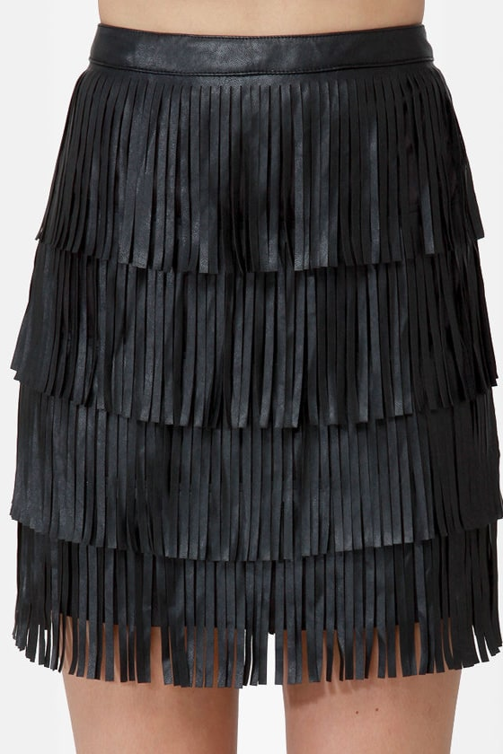 Nuthin' But a Fringy Thang Black Fringe Skirt