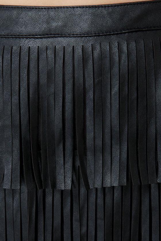 Nuthin' But a Fringy Thang Black Fringe Skirt