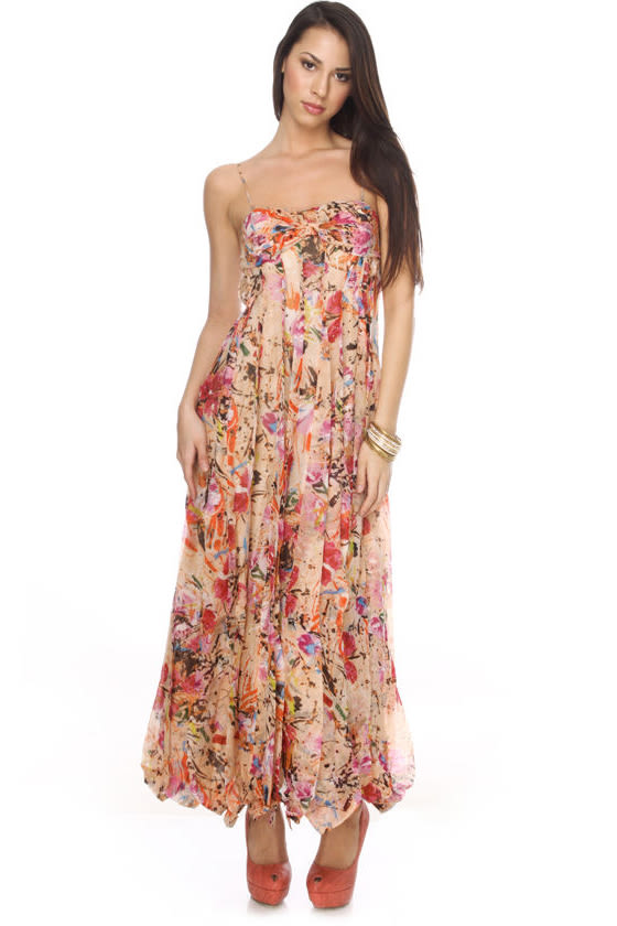 Silk Arboretum Strapless Peach Maxi Dress