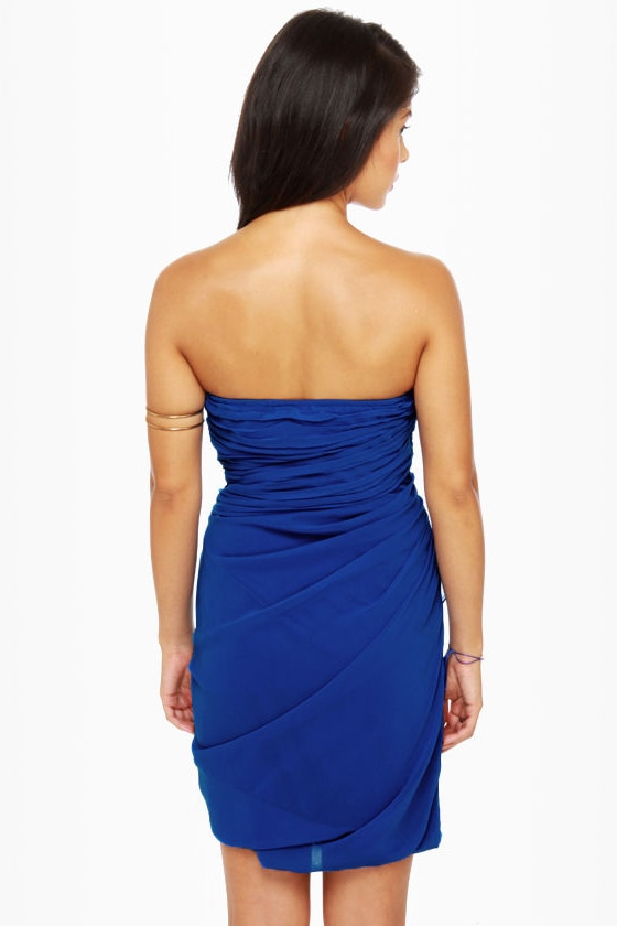 Midnight Masquerade Strapless Royal Blue Dress at Lulus.com!