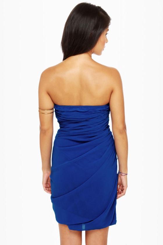 Midnight Masquerade Strapless Royal Blue Dress