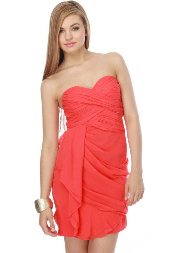 Sultry Coral Dress - Strapless Dress - Red Dress - $72.00
