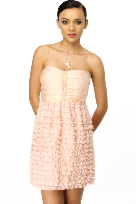 Glance of a Flower Strapless Pink Dress