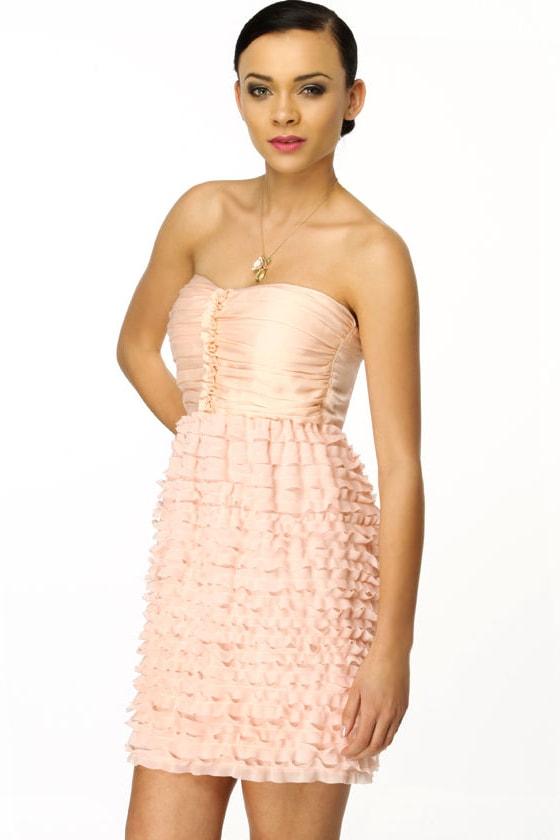 Glance of a Flower Strapless Pink Dress
