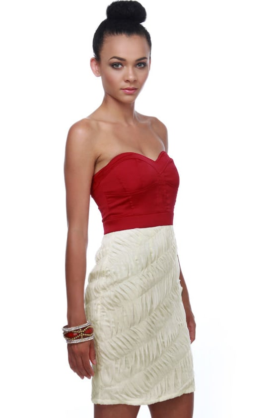 Red, White, and You! Strapless Color Block Dress