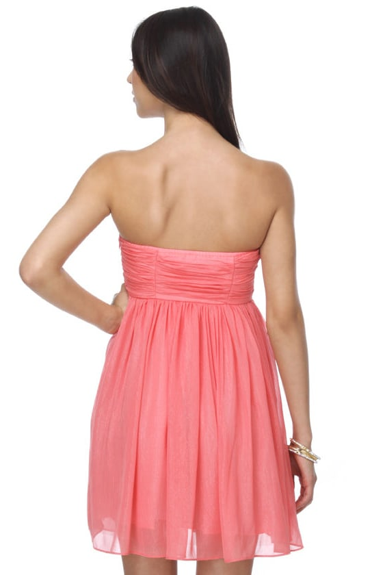 Throw Some Glitter Strapless Coral Dress