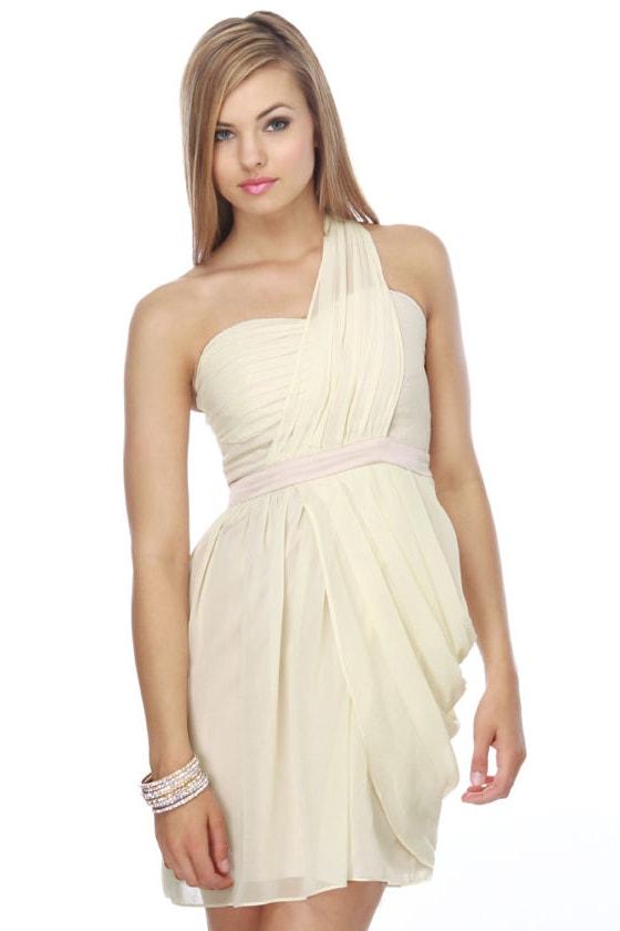 Heart Grow Fonder One Shoulder Ivory Dress
