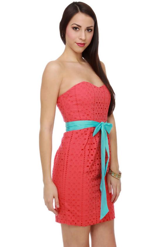 tropical coral dress lace dress strapless dress 7000