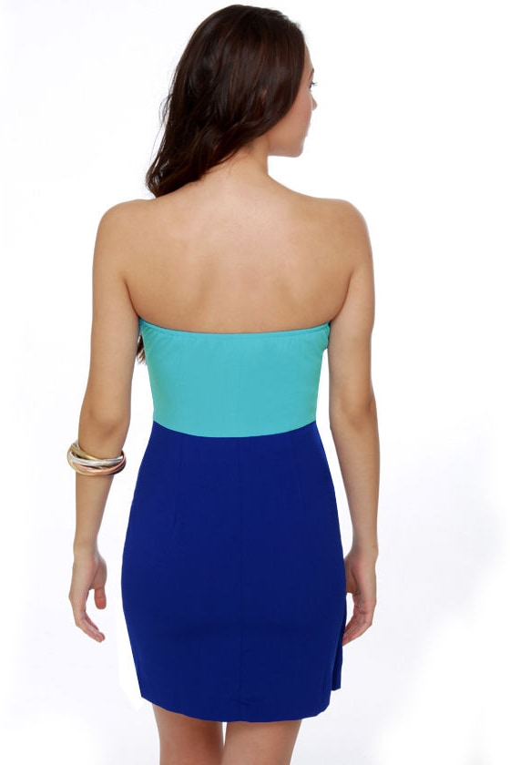 Delica-Sea of Love Strapless Blue Dress at Lulus.com!