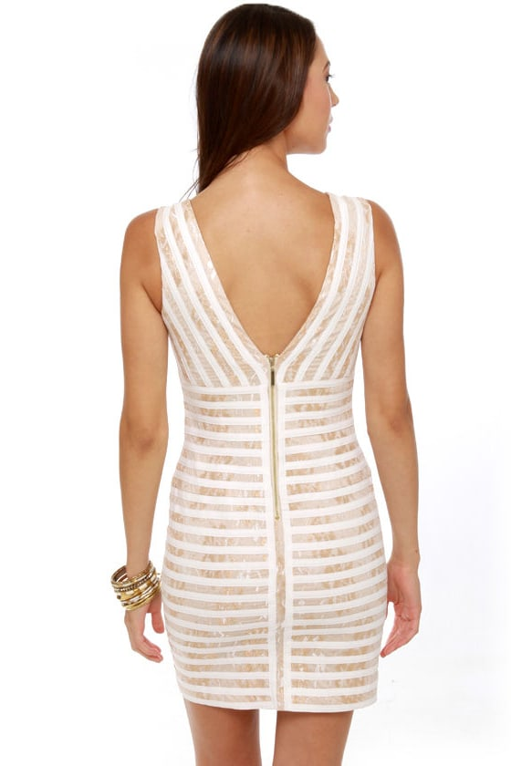 Midas Sign Ivory and Gold Striped Dress at Lulus.com!