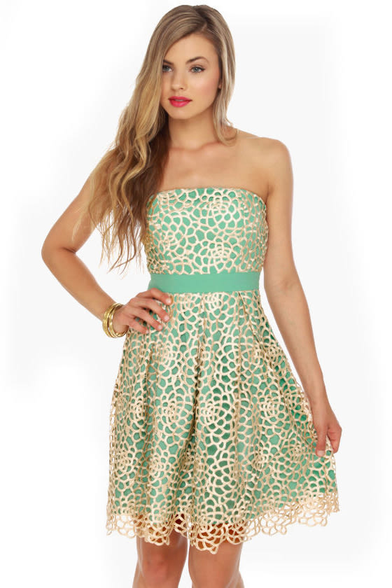 Lovely Strapless Dress - Mint Green Dress - $83.00
