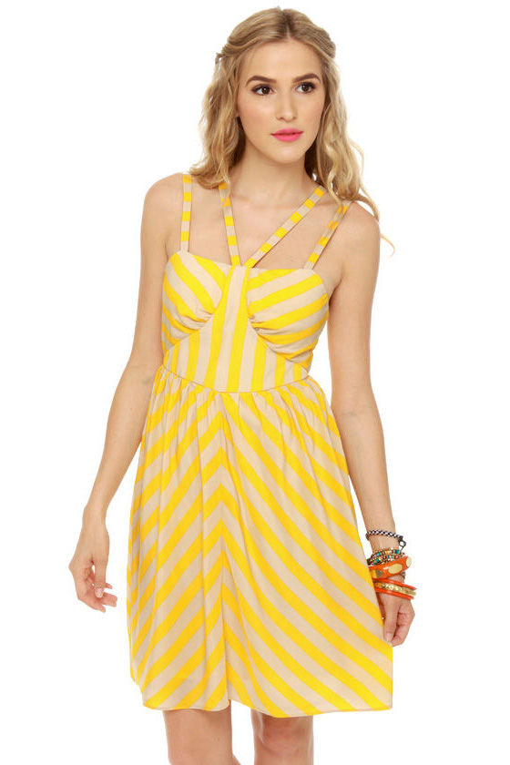 Bumble Beach Yellow Striped Dress