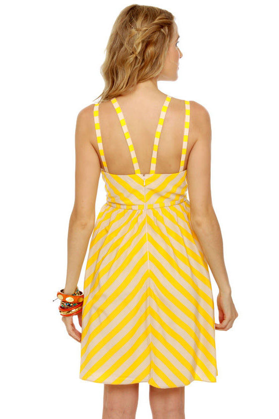 Bumble Beach Yellow Striped Dress at Lulus.com!