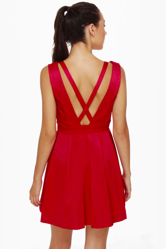 Cheer Factor Sleeveless Red Dress at Lulus.com!