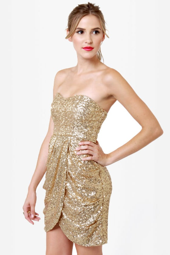 Stunning Sequin Dress - Gold Dress - Strapless Dress - $94.00