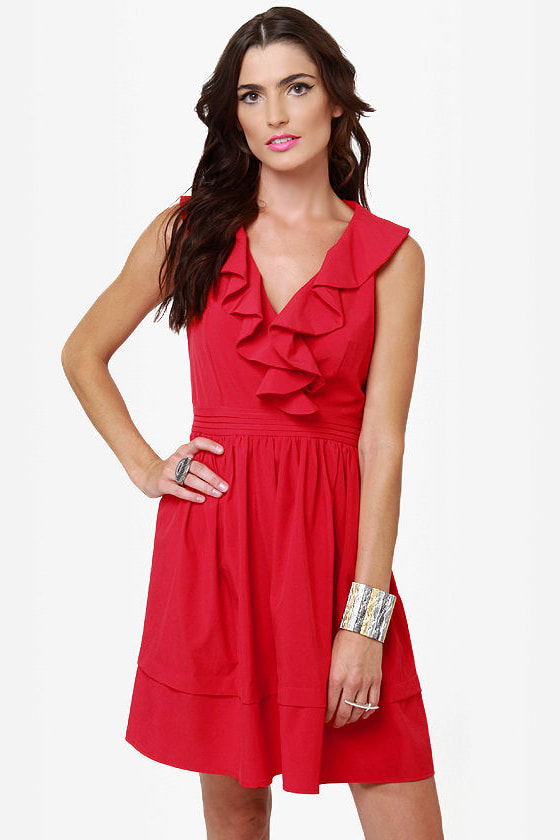 Frilly the Kid Red Dress at Lulus.com!